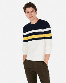 Express color block striped crew neck sweater