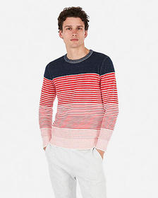 Express plaited ombre striped crew neck sweater