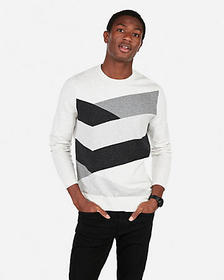 Express chevron patterned crew neck sweater