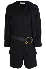 CHLOÉ Belted wool, cotton and silk-blend twill pla
