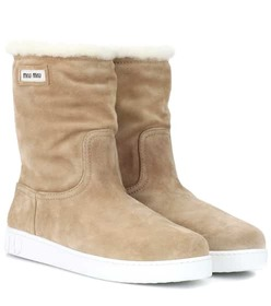 Miu Miu Suede and shearling ankle boots