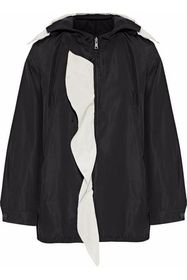 PRADA Ruffle-trimmed silk-faille hooded jacket