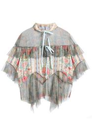 ANNA SUI Pleated floral-print satin-jacquard and t