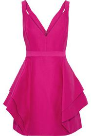 HALSTON HERITAGE Layered cotton and silk-blend min