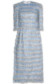 DOLCE & GABBANA Striped metallic tinsel midi dress