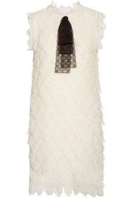 CHLOÉ Bow-embellished broderie anglaise silk-organ