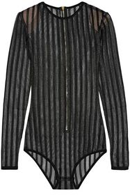 BALMAIN Striped open-knit bodysuit