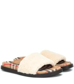 Burberry Shearling and Vintage Check sandals