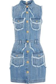 BALMAIN Frayed embroidered denim mini dress