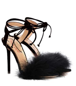 Charlotte Olympia Salsa 110 feather-trimmed sandal