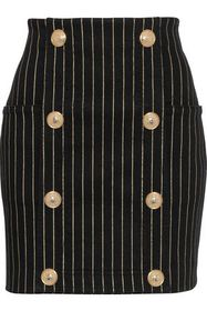 BALMAIN Button-embellished metallic pinstriped den