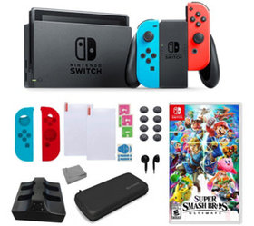 Nintendo Switch in Neon with Super Smash Bros &Acc