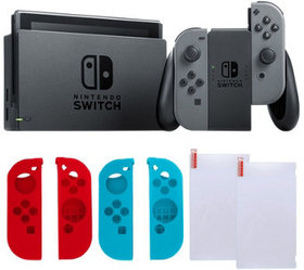 Nintendo Switch Gray with Silicone Sleeves & Scree
