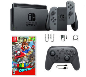 Nintendo Switch Gray with Mario Odyssey and ProCon