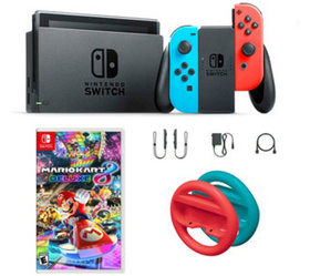 Nintendo Switch Neon with Mario Kart 8 & Red and B