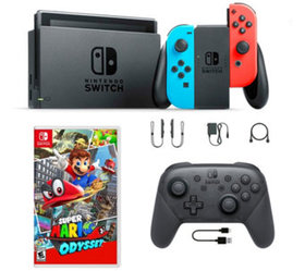 Nintendo Switch Neon with Mario Odyssey & Pro Cont