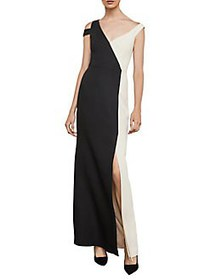 BCBGMAXAZRIA Color-Blocked Cold-Shoulder Gown BLAC