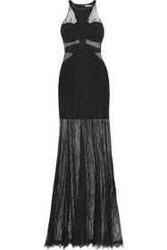 HALSTON HERITAGE Crepe-paneled lace gown