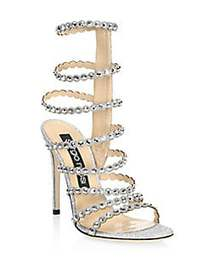 Sergio Rossi Crystal-Embellished Gladiator Sandals