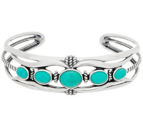 American West Sterling Silver Five Stone Blue Gree