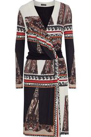 ETRO Wrap-effect patchwork-effect printed crepe dr
