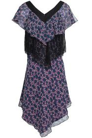 ANNA SUI Chantilly lace-paneled floral-print silk-