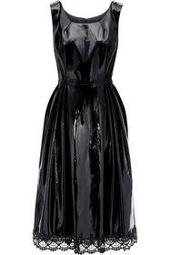 ANNA SUI Lace-trimmed pleated vinyl dress