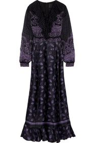 ANNA SUI Lace-up printed fil coupé chiffon and sil