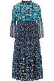 ANNA SUI Gathered printed jacquard and georgette m