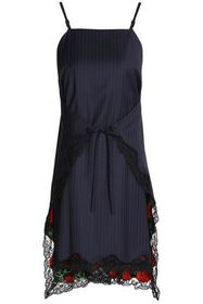 ALEXANDER WANG Tie-front lace-trimmed pinstriped w
