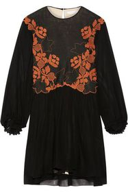 CHLOÉ Embroidered linen and silk-chiffon mini dres