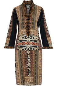 ETRO Fringed jacquard-trimmed printed wool-cady dr