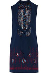 ANNA SUI Pintucked floral-print georgette-paneled