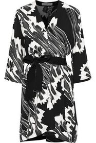 HALSTON HERITAGE Belted printed crepe mini dress