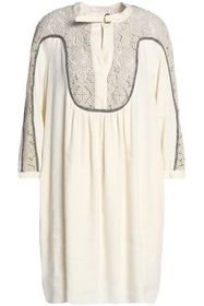 CHLOÉ Guipure lace-paneled linen and silk-blend dr