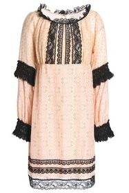 ANNA SUI Lace-trimmed printed cotton and silk-blen