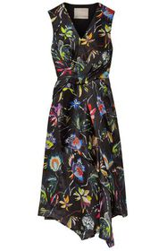JASON WU Knotted floral-print crinkled silk-satin