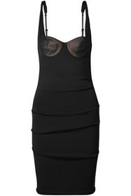 ALEXANDER WANG Mesh-paneled ruched stretch-crepe d