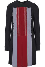 VALENTINO Lace-trimmed pleated color-block silk-cr