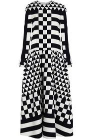 VALENTINO Printed wool and silk-blend twill midi d