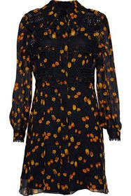 ANNA SUI Guipure lace-trimmed floral-print georget
