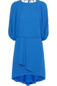 HALSTON HERITAGE Layered draped crepe de chine dre