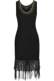 BALMAIN Fringed embellished metallic tweed dress