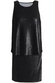 HALSTON HERITAGE Chiffon-paneled layered sequined