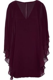 HALSTON HERITAGE Cape-effect layered chiffon and p