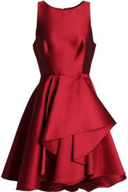 HALSTON HERITAGE Draped duchesse-satin dress