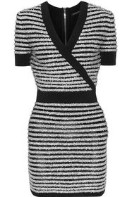 BALMAIN Wrap-effect striped tinsel and stretch-kni