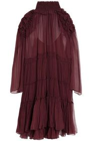 CHLOÉ Ruffle-trimmed gathered silk-georgette dress