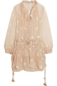 CHLOÉ Embroidered silk-chiffon mini dress