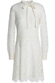 VALENTINO Pussy-bow cotton-blend corded lace mini
